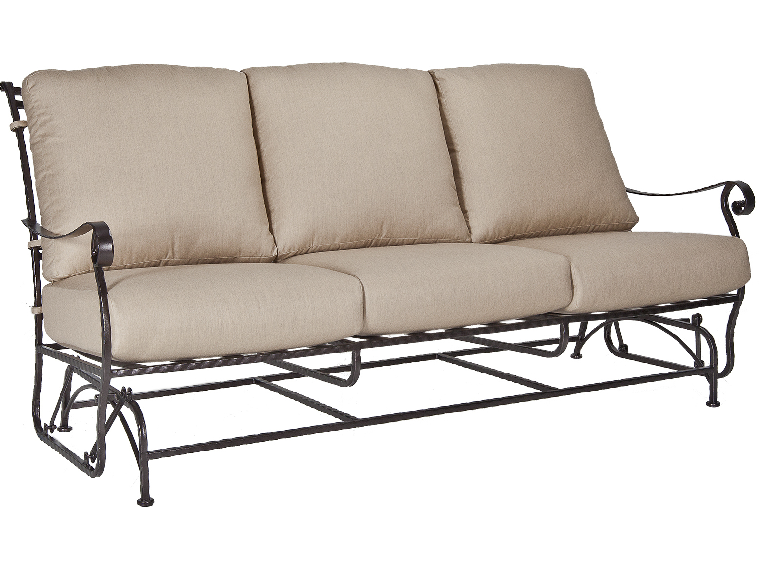 metal sofa glider d f s beds ow lee san cristobal wrought iron three seat