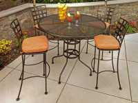 OW Lee Micro Mesh Wrought Iron 48 Round Bar Table with ...