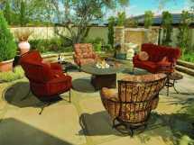Ow Lee Monterra Wrought Iron Swivel Rocker Lounge Chair