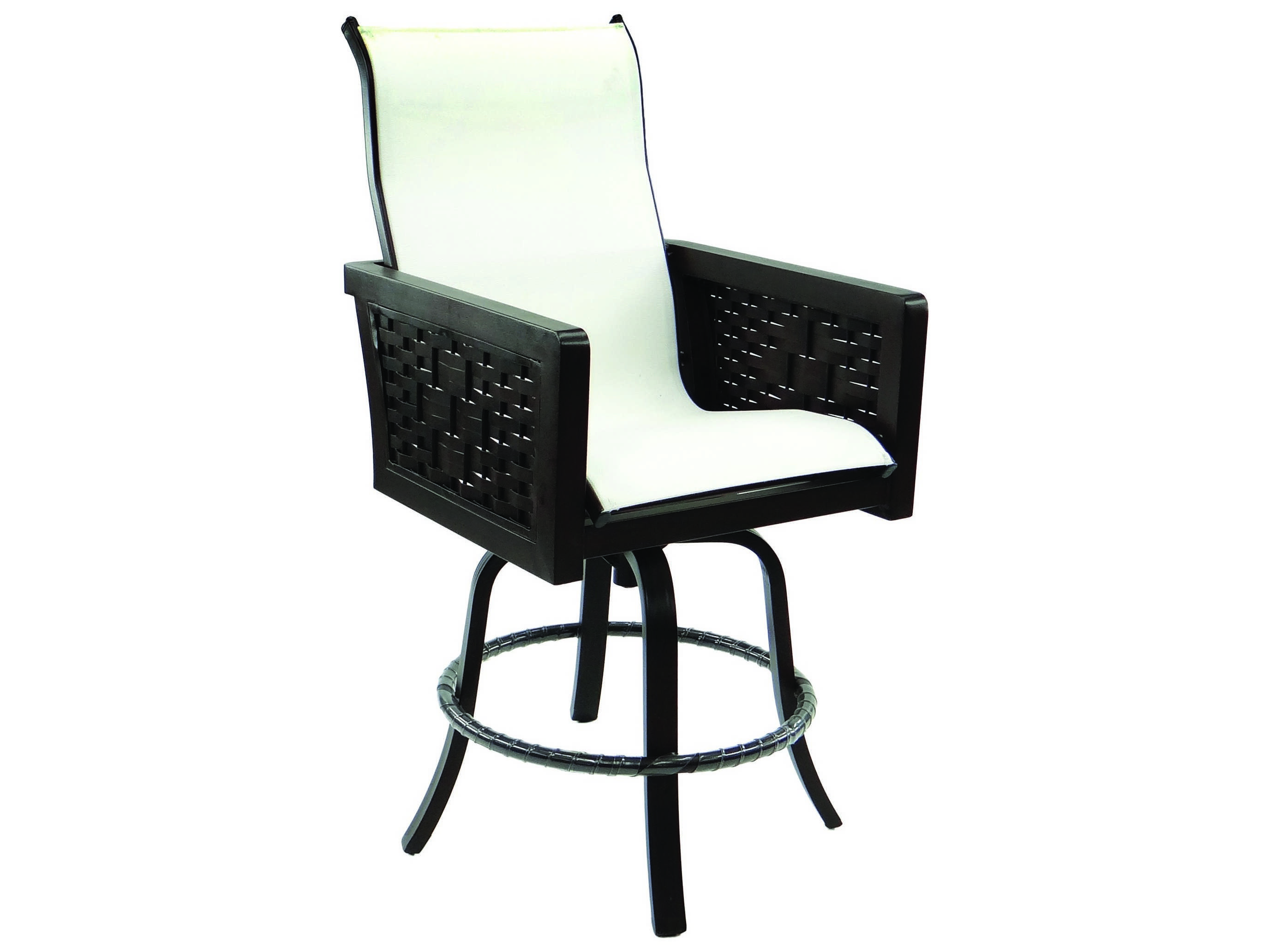 swivel chair in spanish foam for cushions castelle bay sling cast aluminum high back