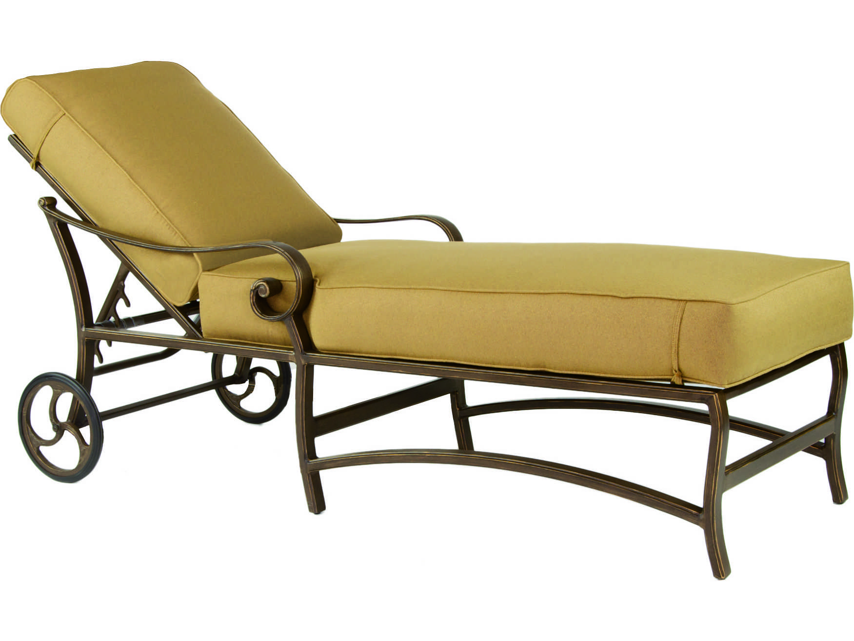 metal lounge chair with wheels glider rocking cushion pattern castelle veracruz cast aluminum adjustable chaise