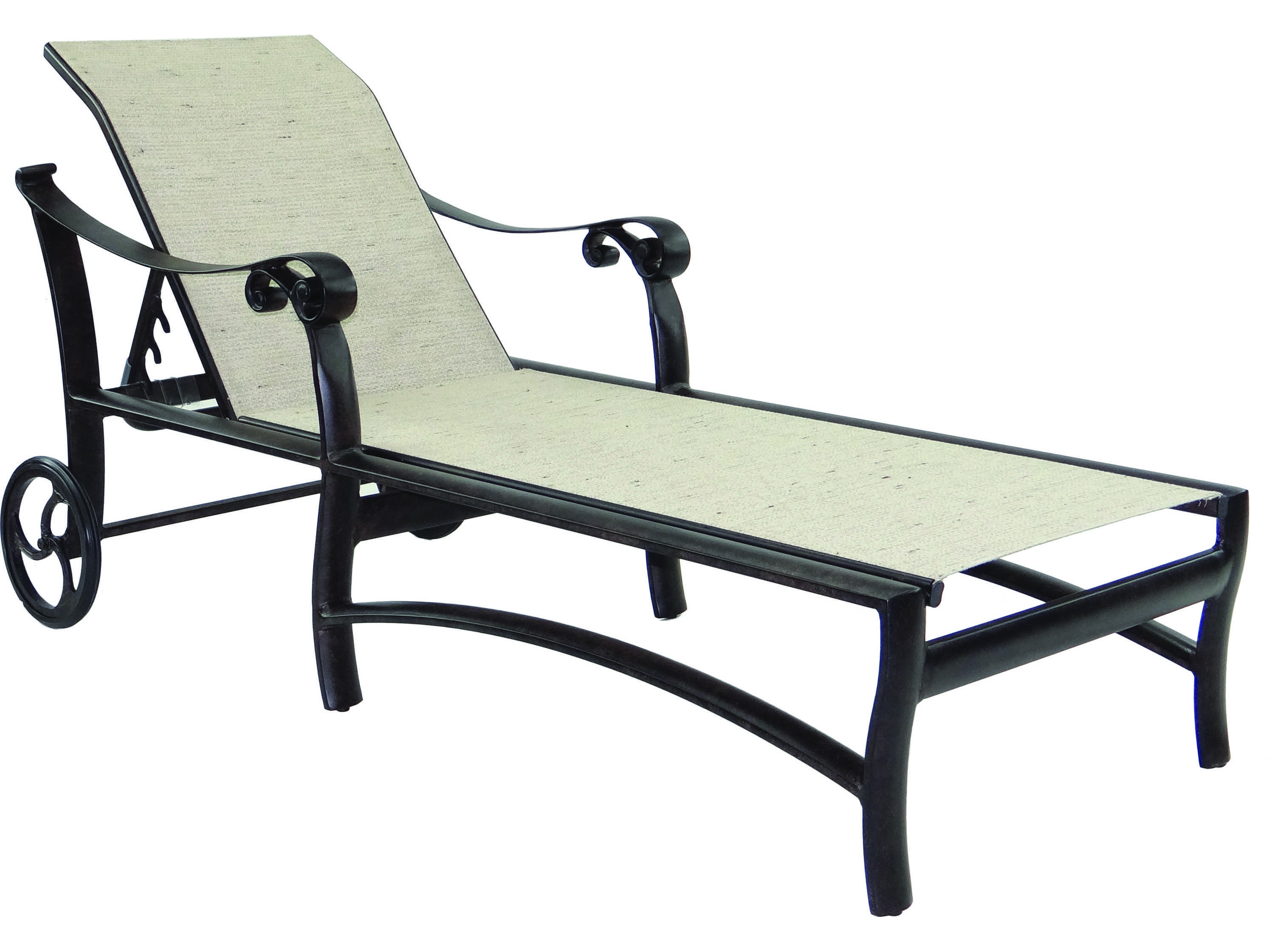 metal lounge chair with wheels cheap stackable chairs castelle bellanova sling cast aluminum adjustable chaise
