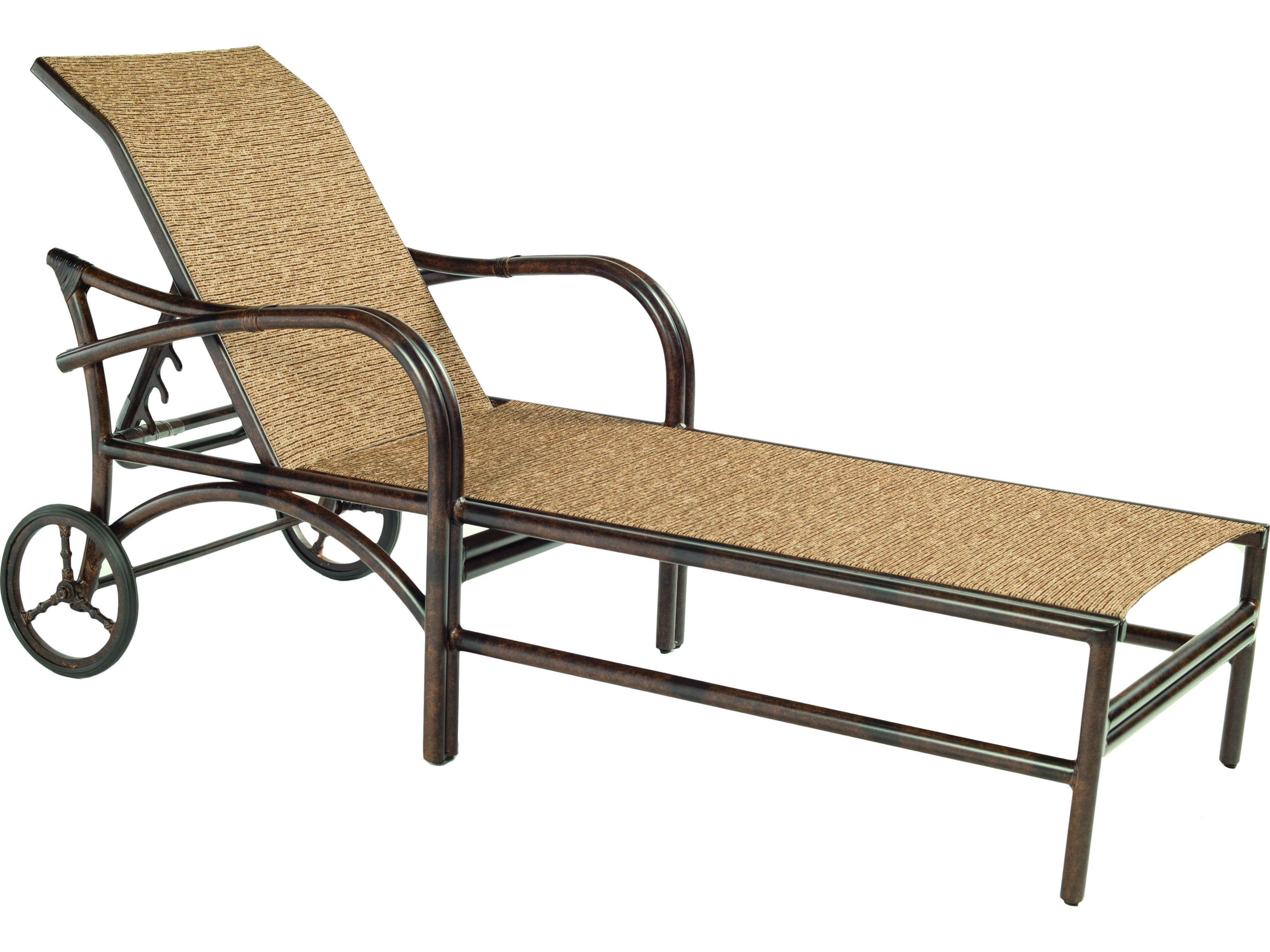 metal lounge chair with wheels office chairs ergonomic mesh castelle sundance sling cast aluminum adjustable chaise
