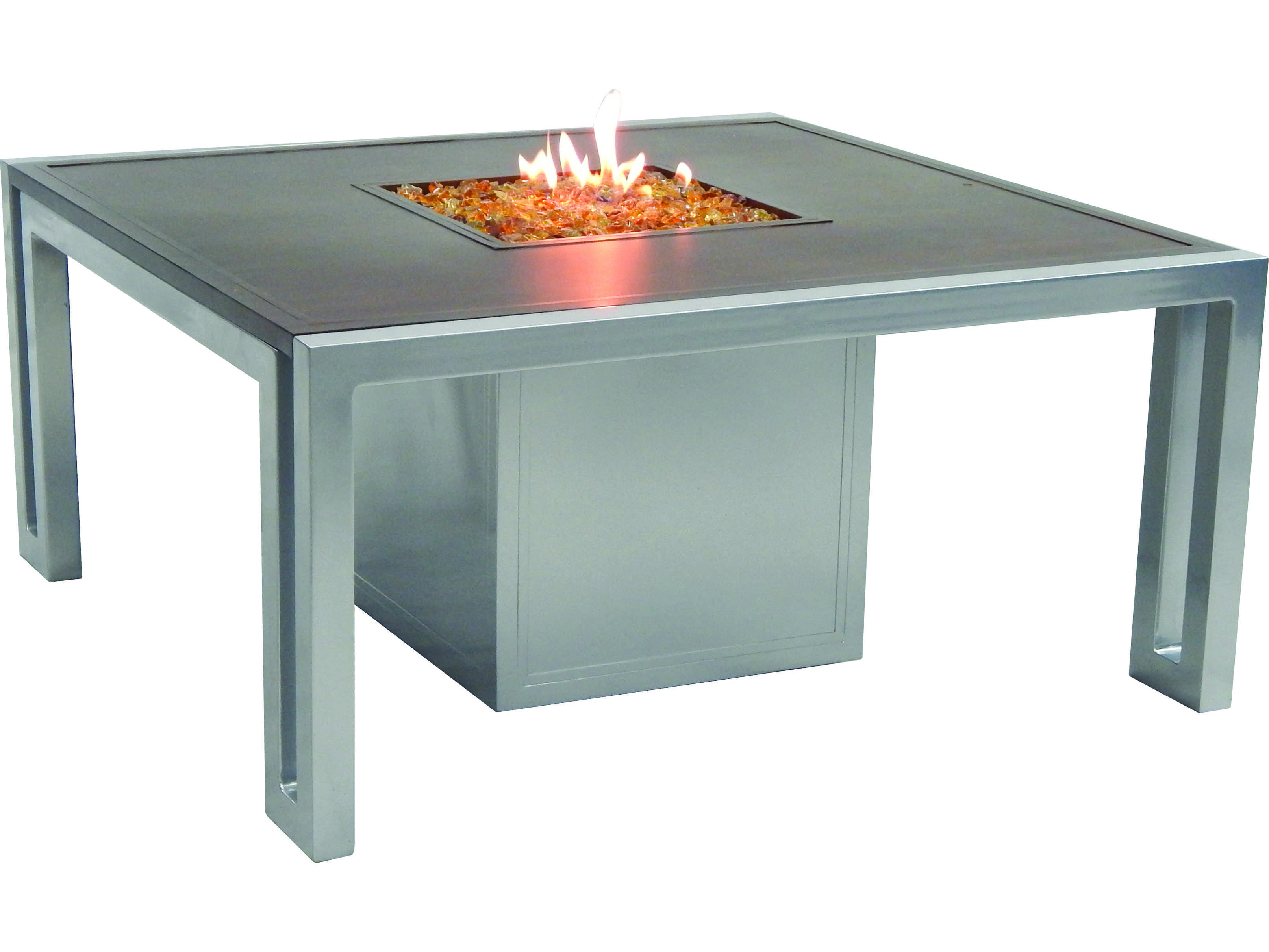 Castelle Icon Firepit Cast Aluminum 44 Square Coffee Table