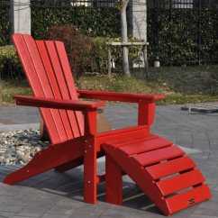 Red Adirondack Chairs Plastic Chair Cover Vinyl Panama Jack Resin Two Piece And Ottoman
