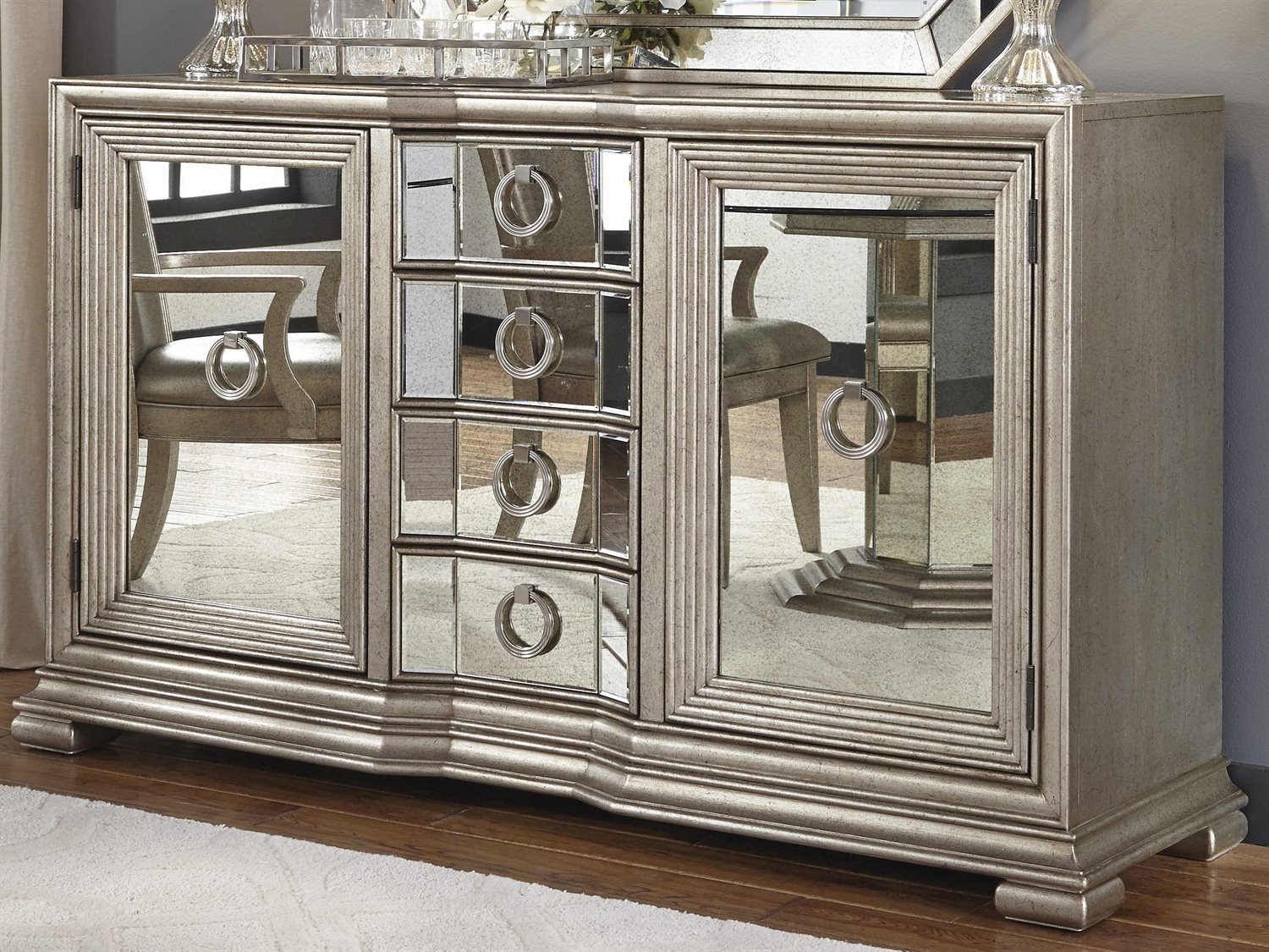 Pulaski Couture Silver Rectangular Sideboard Amp Mirror Set