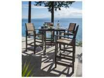 Polywood Coastal Black Recycled Plastic 5-piece Bar Set