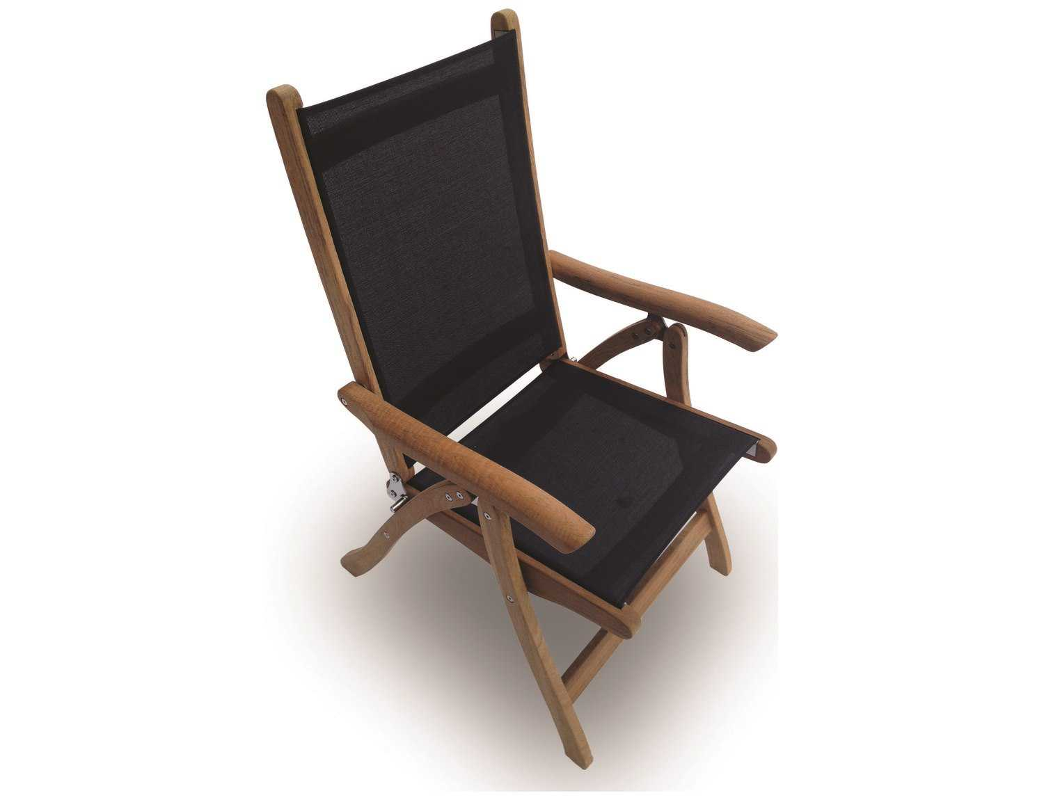 folding sling chair canada russel wright royal teak collection florida black adjustable