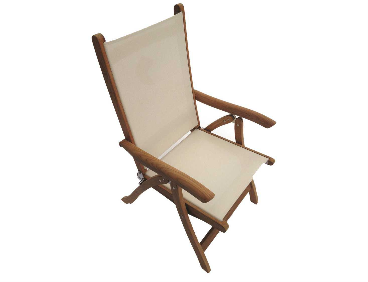 Folding Arm Chair Royal Teak Collection Florida White Sling Adjustable