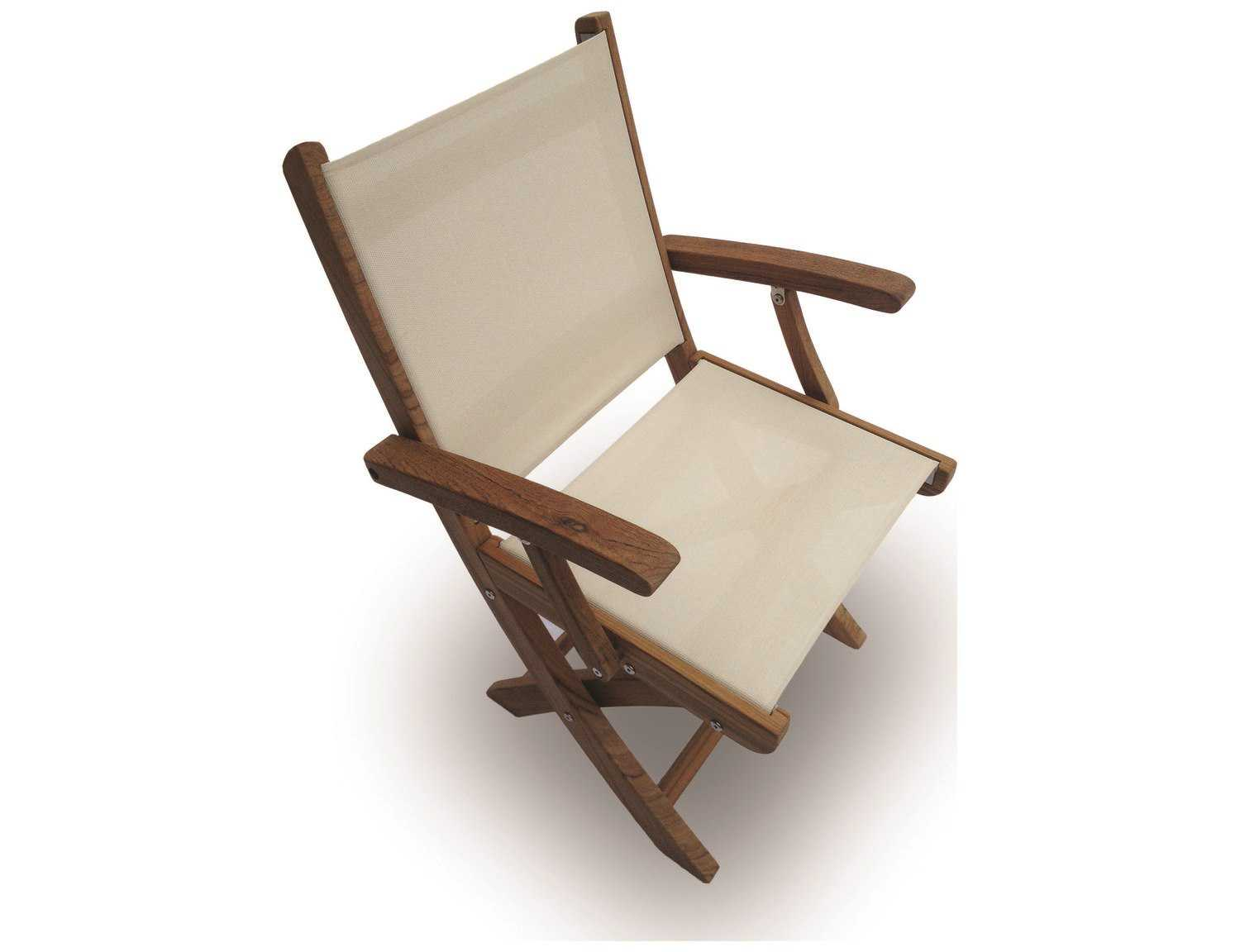 Folding Arm Chair Royal Teak Collection Sailmate White Sling Folding Dining