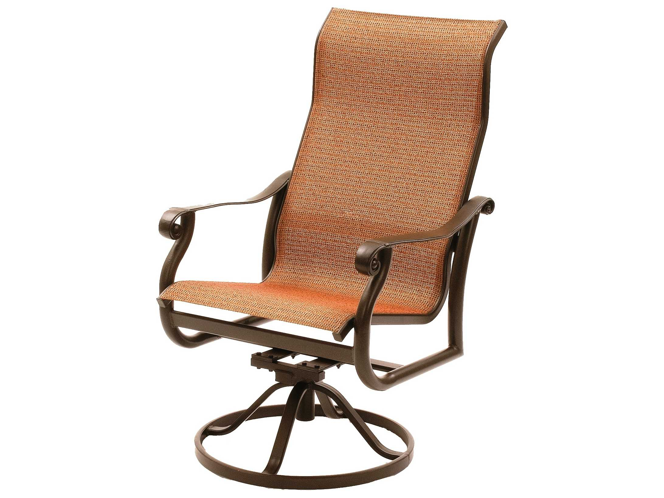 sling motion patio chairs steel chair for tent house suncoast rendezvous cast aluminum arm swivel rocker