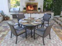 Round Slate Top Dining Table Set