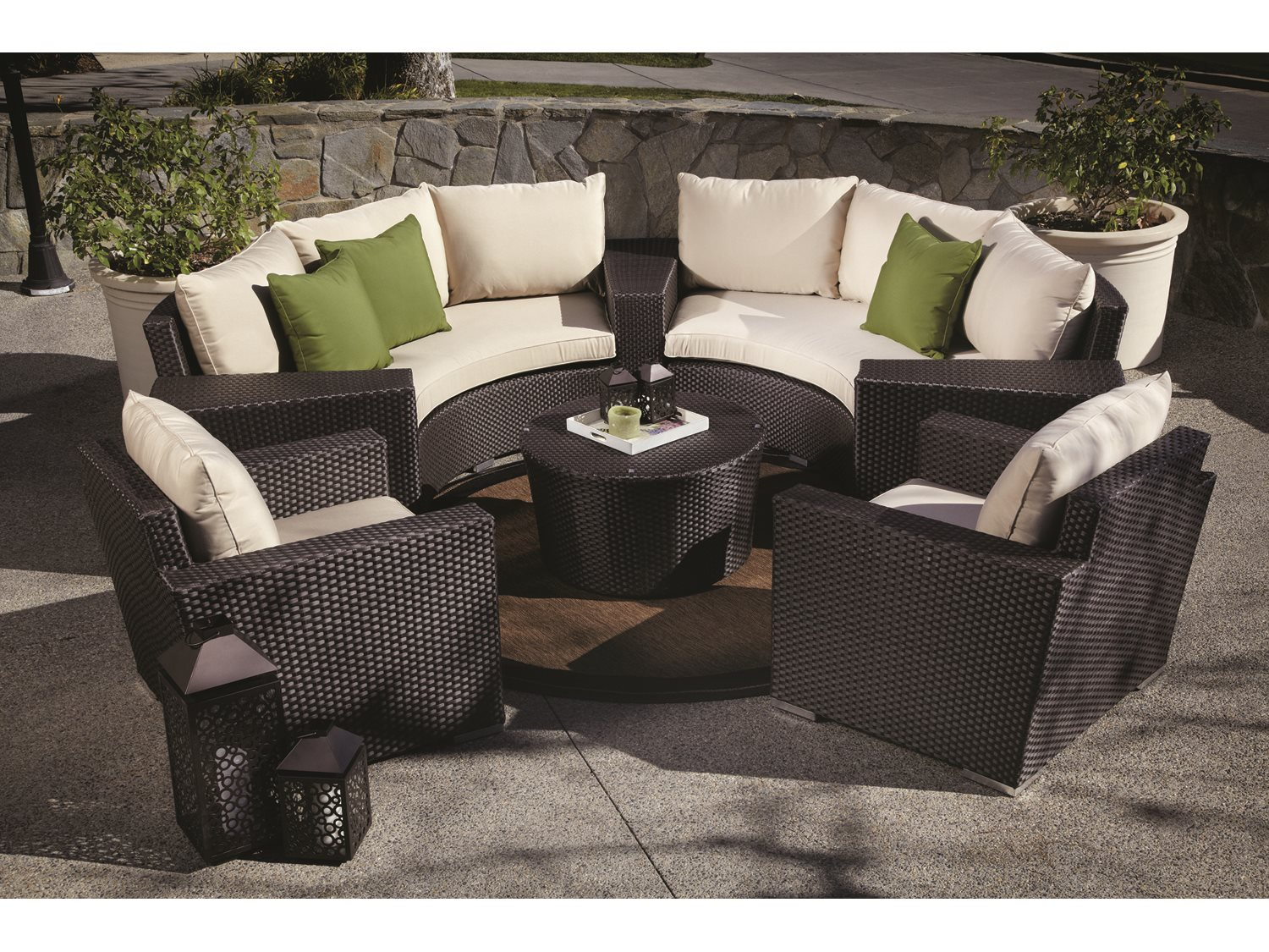 wedge table for sectional sofa restoration hardware review sunset west quick ship solana wicker round with club