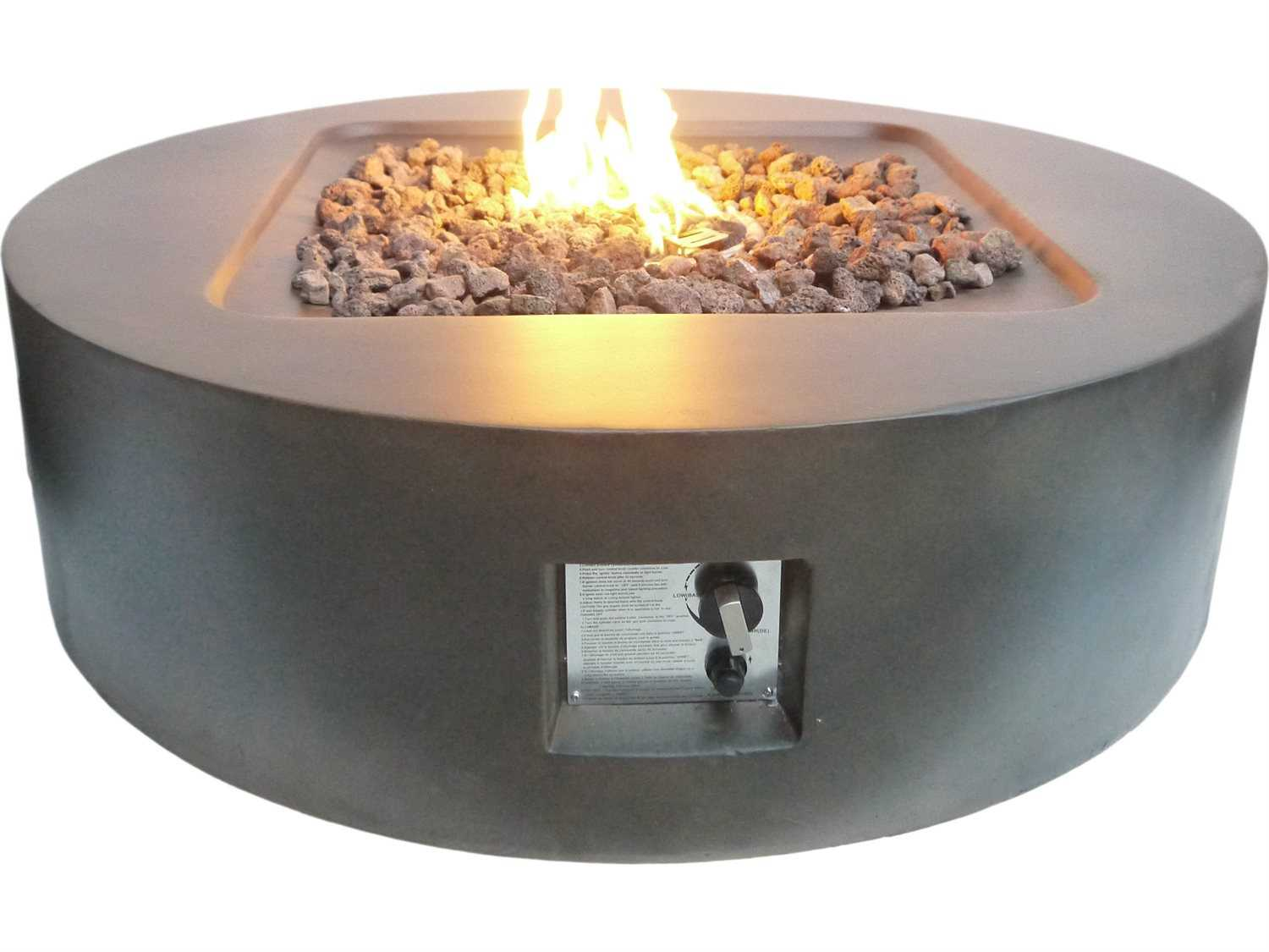 Teva Flint Round Concrete 42W x 12H Firepit in Brown