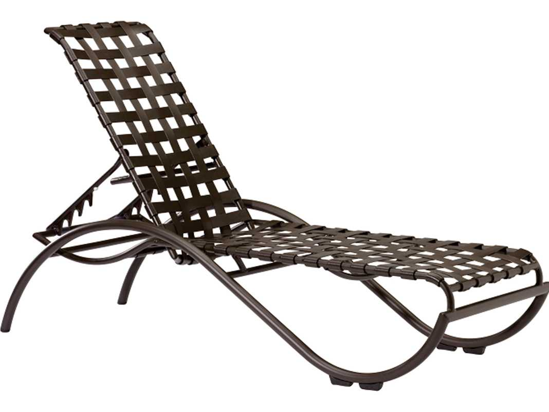 lounge chair replacement straps accessories for weddings tropitone la scala cross strap aluminum stackable chaise