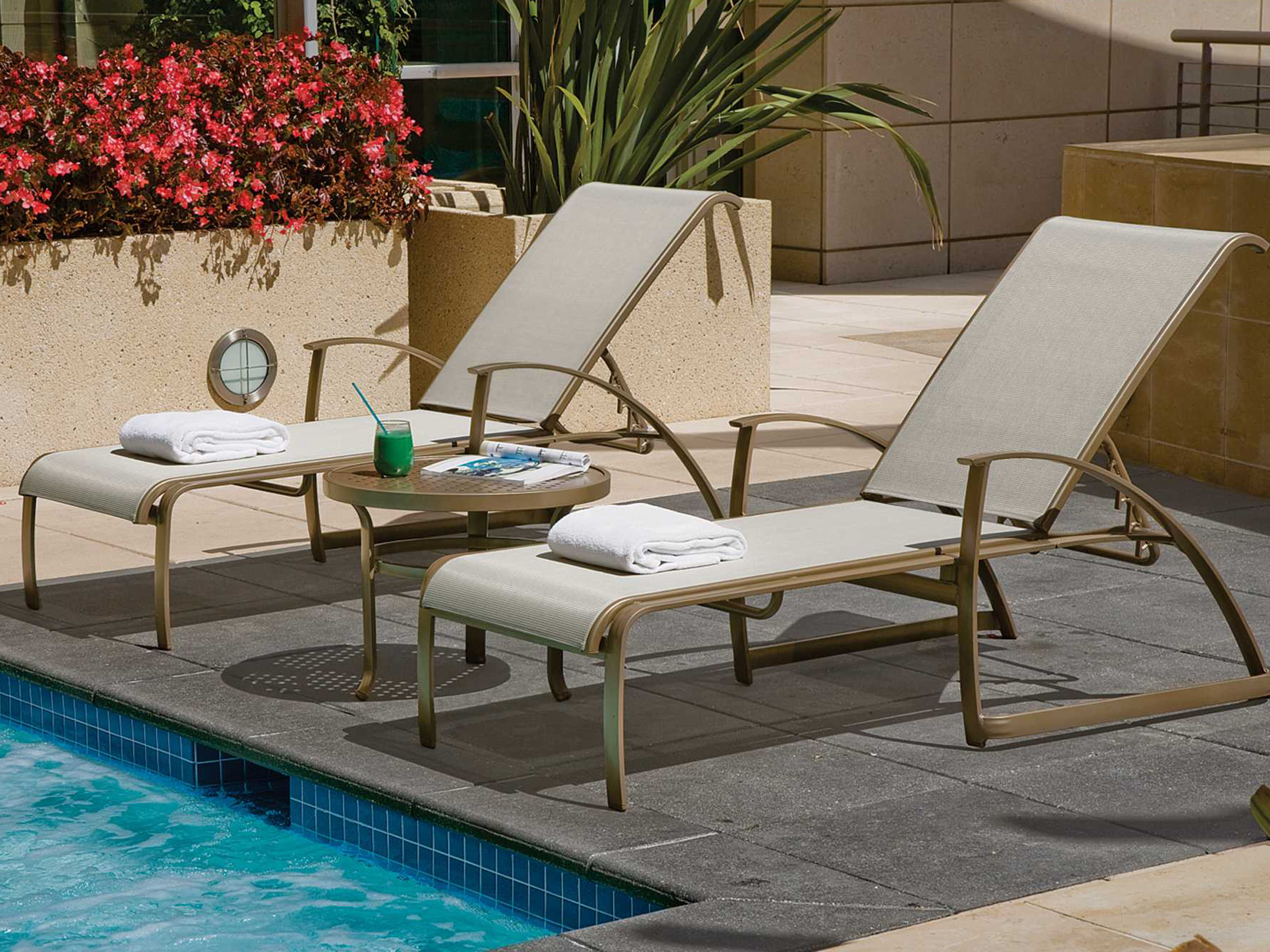 Commercial Pool Lounge Chairs Tropitone Mainsail Sling Aluminum Stackable Chaise Lounge