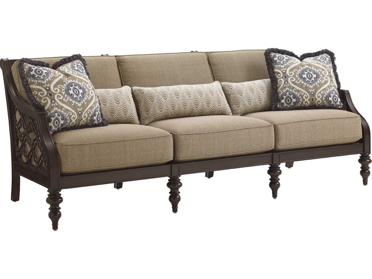black aluminum outdoor sofa diy concrete table tommy bahama sands cast cushion