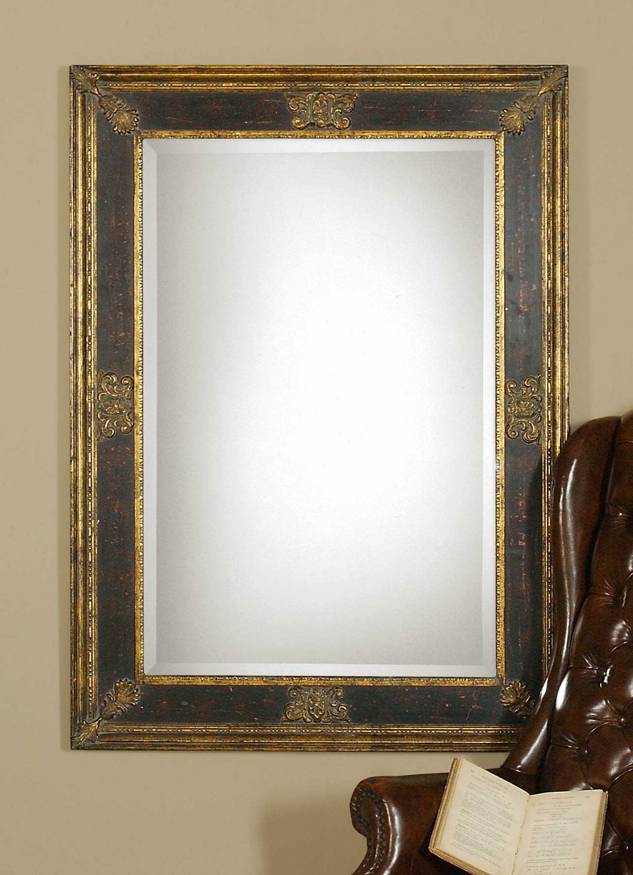 commercial seating chairs chair gym australia uttermost cadence 34 x 46 small antique gold wall mirror   ut11207b