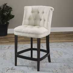 Counter Height Arm Chair Kids Peacock Uttermost Kavanagh Tufted White Linen Stool Ut23236