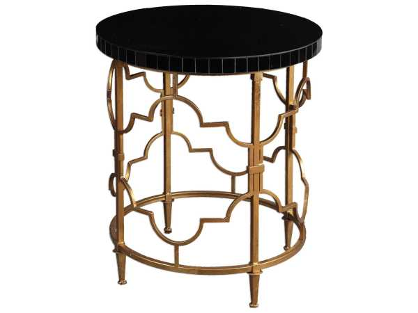 Black Round Accent Table Gold
