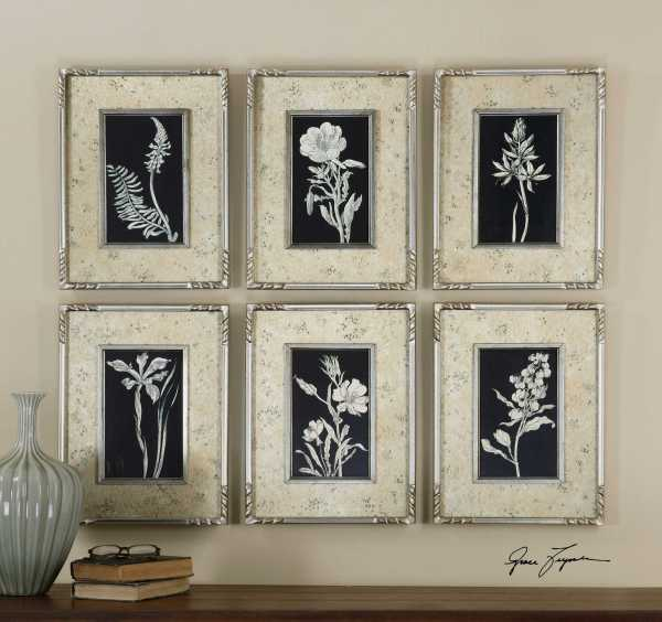Uttermost Glowing Florals Framed Wall Art 6 Piece Set