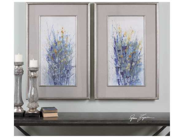 Uttermost Indigo Florals Framed Art Set Of Two Ut41558