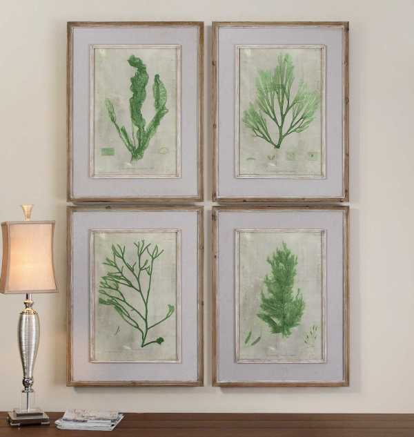 Uttermost Emerald Seaweed Framed Wall Art 4 Piece Set
