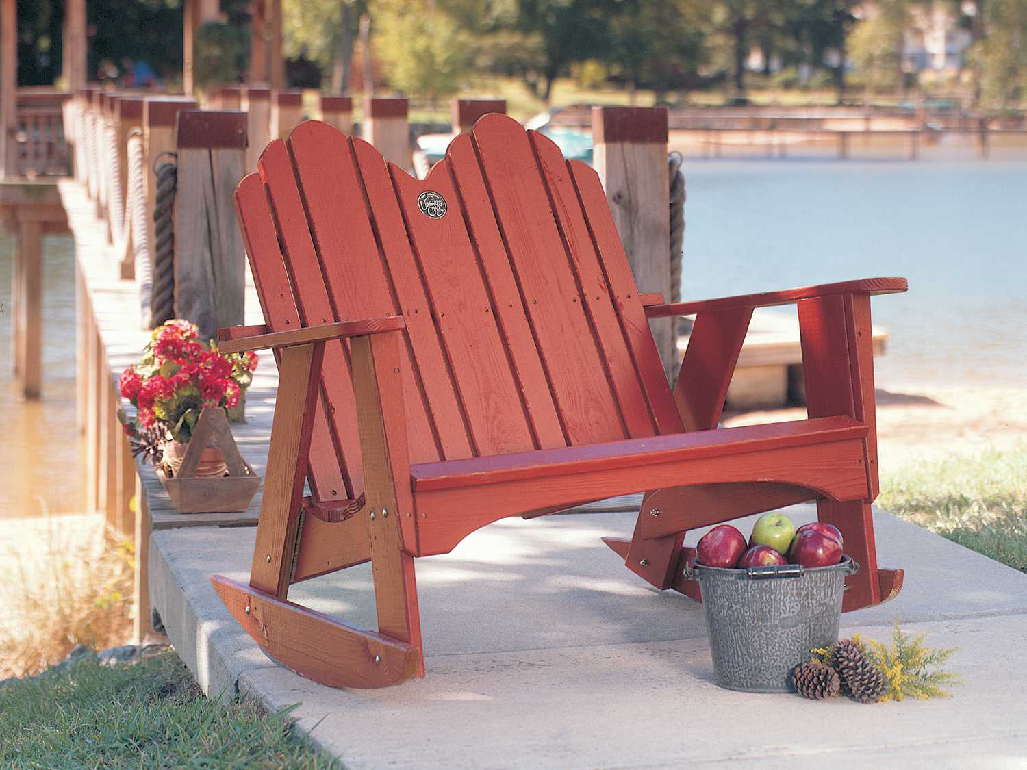 Uwharrie Chair Original Wood Arm Rocker Loveseat  1053