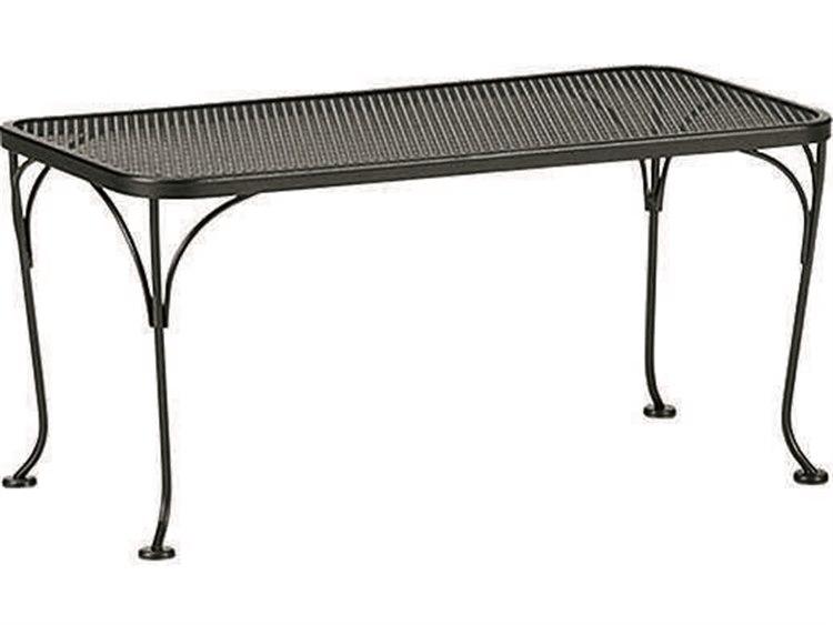 woodard wrought iron mesh 36 w x 18 d rectangular coffee table