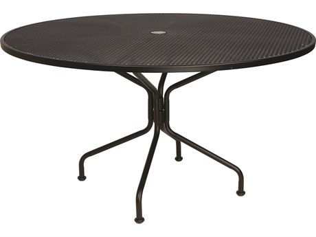 woodard wrought iron mesh 54 wide round 8 spoke dining table with umbrella hole