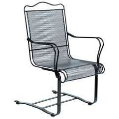 High Back Metal Dining Chairs Chair Covers Hire Plymouth Woodard Tucson Wrought Iron Spring