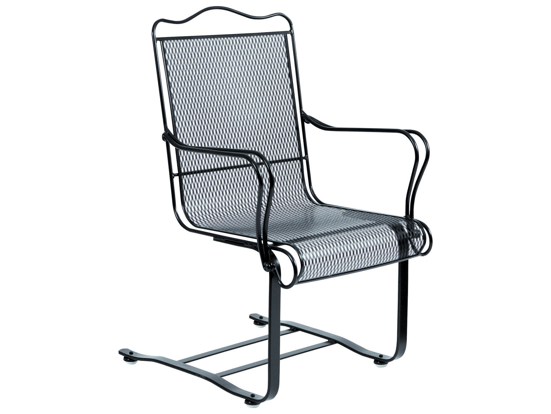 Mesh Patio Chairs Woodard Tucson Wrought Iron High Back Spring Dining Chair