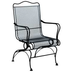 High Back Metal Dining Chairs Kitchen With Rollers Woodard Tucson Wrought Iron Coil Spring Chair