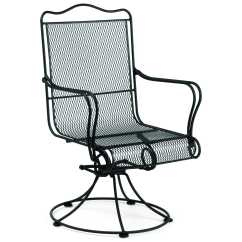 Iron Outdoor Chairs Folding Desk Chair With Wheels Woodard Tucson Wrought High Back Swivel Rocker Dining