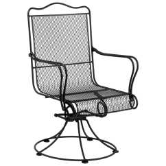 Wrought Iron Dining Chairs Old Ski Lift Chair For Sale Woodard Tucson High Back Swivel Rocker