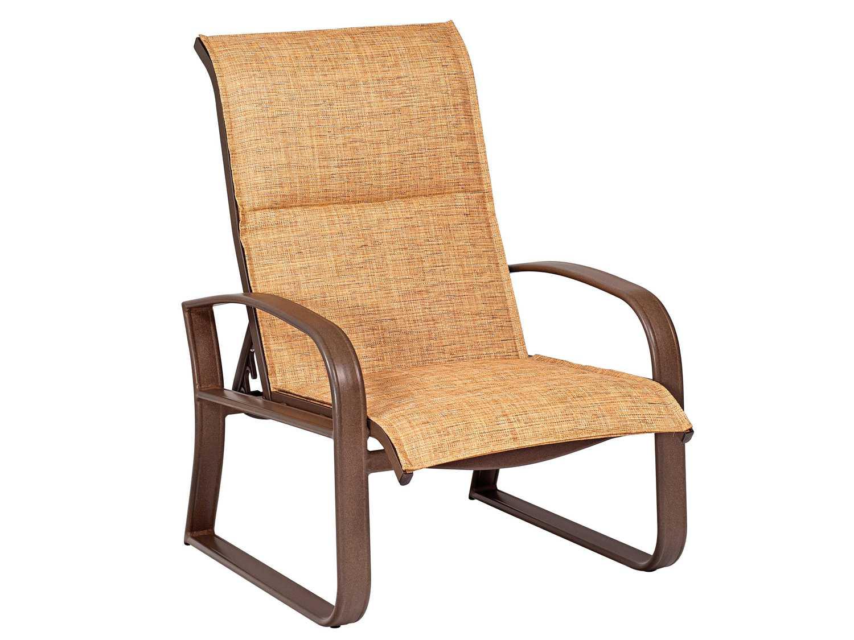 aluminum lounge chairs 2 seat woodard cayman isle padded sling adjustable