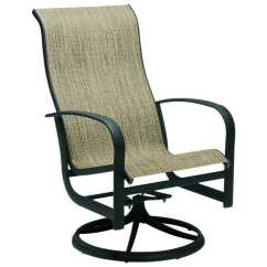 Sling Back Patio Chairs Discount Rocking Woodard Fremont Aluminum High Swivel Rocker
