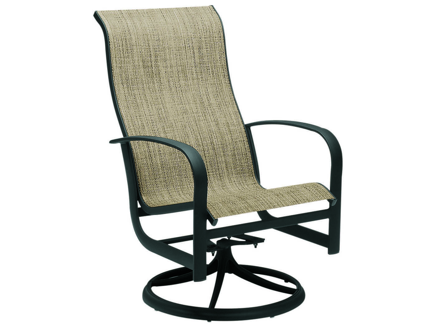 swivel patio chair ergonomic best buy woodard fremont sling aluminum high back rocker
