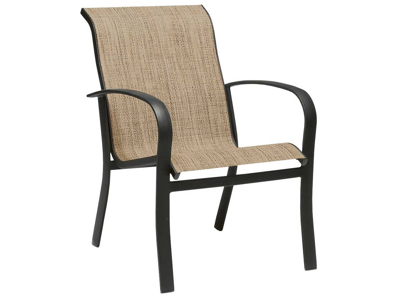stackable chairs with arms target cord chair woodard fremont sling aluminum dining arm