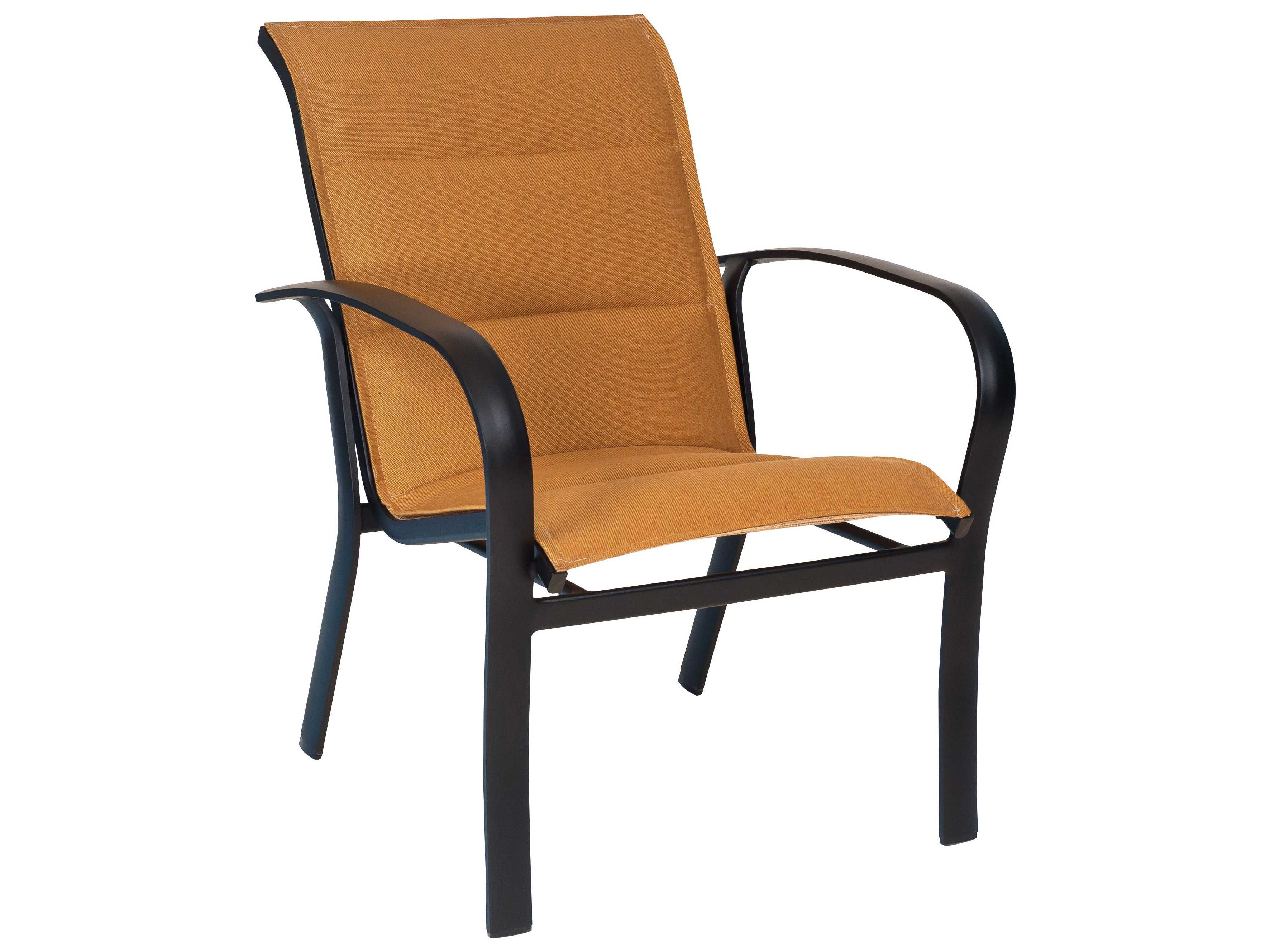 outdoor dining chairs stackable vinyl material for woodard fremont padded sling aluminum arm chair