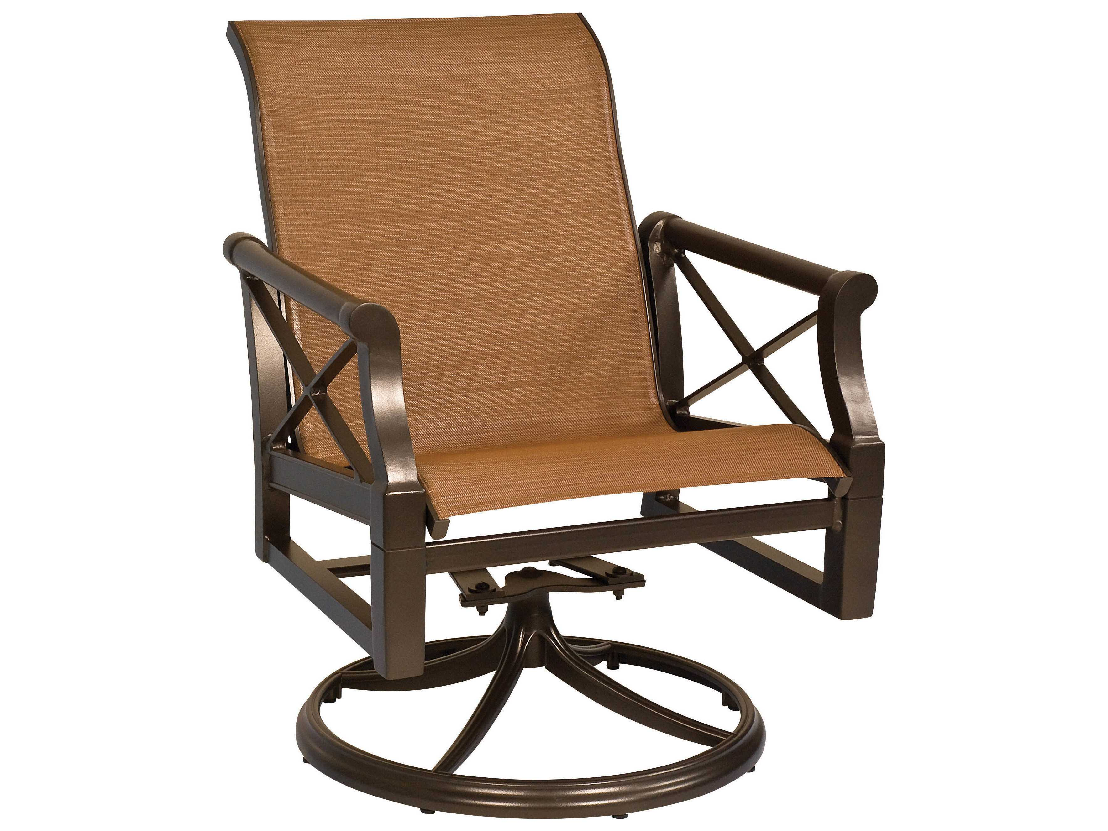 sling motion patio chairs hanging chair egypt woodard andover aluminum swivel rocker dining arm