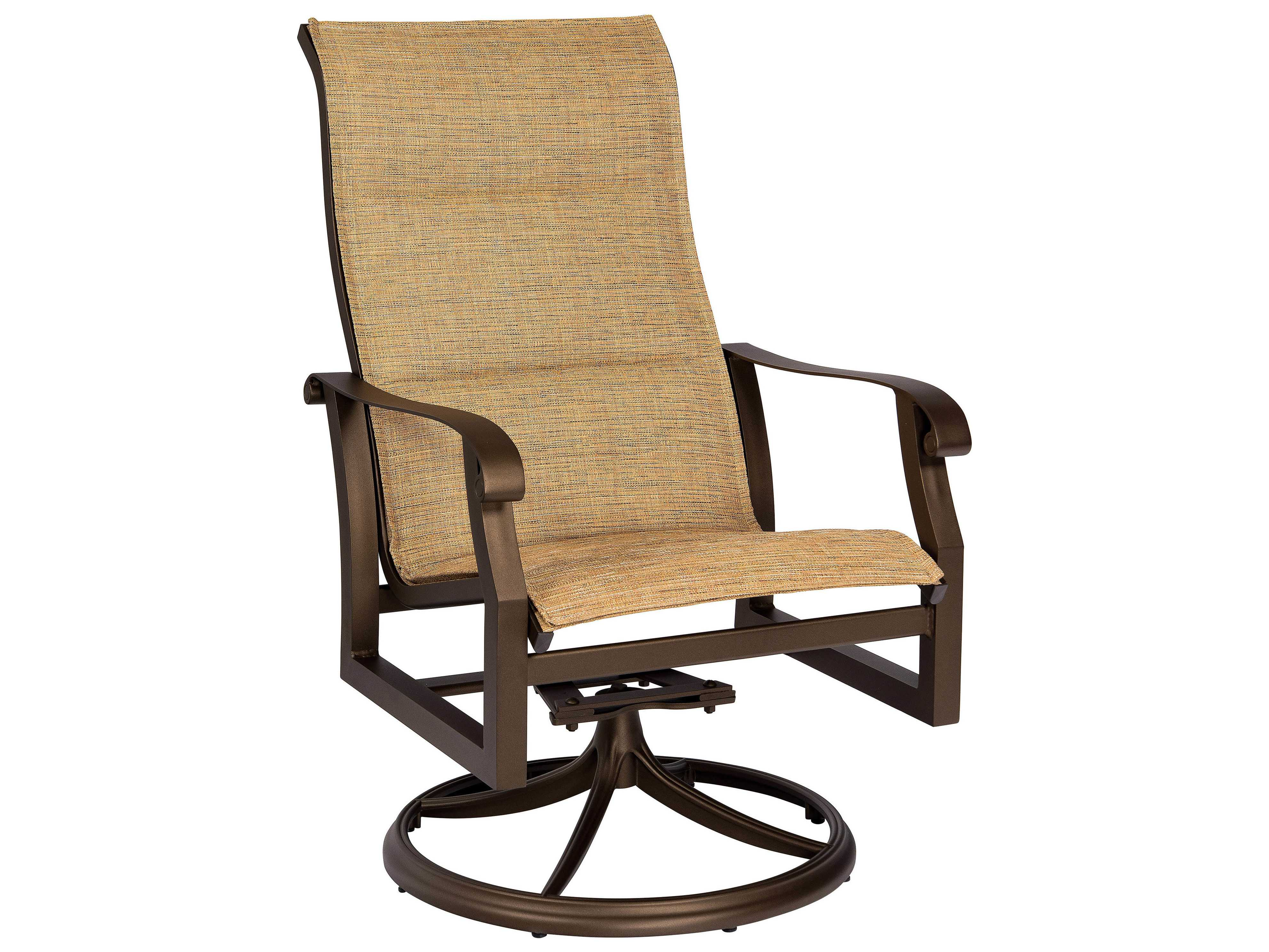 sling motion patio chairs gaming chair accessories woodard cortland padded aluminum high back swivel
