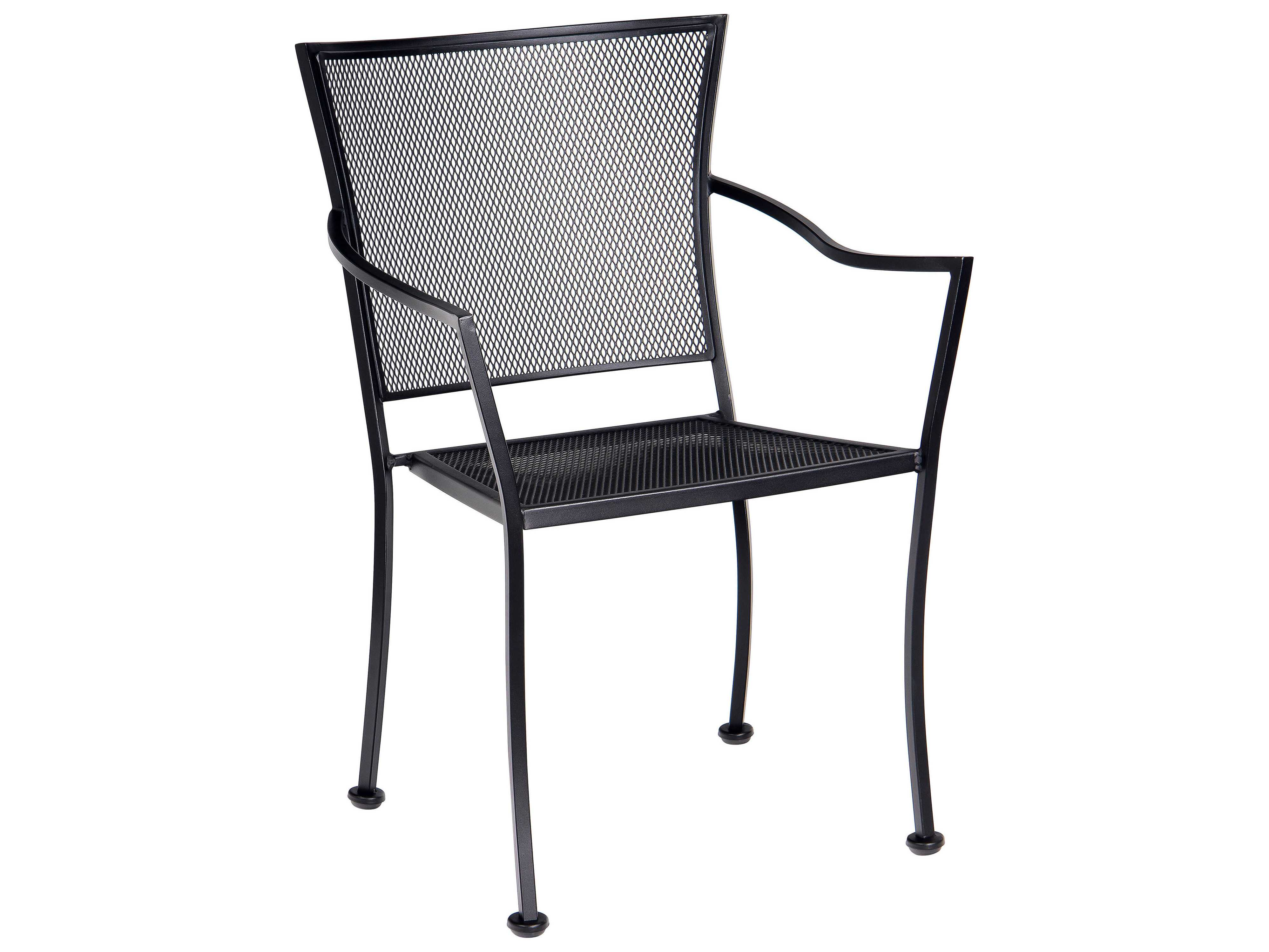 wrought iron dining chairs black spindle arm chair woodard amelie stackable bistro
