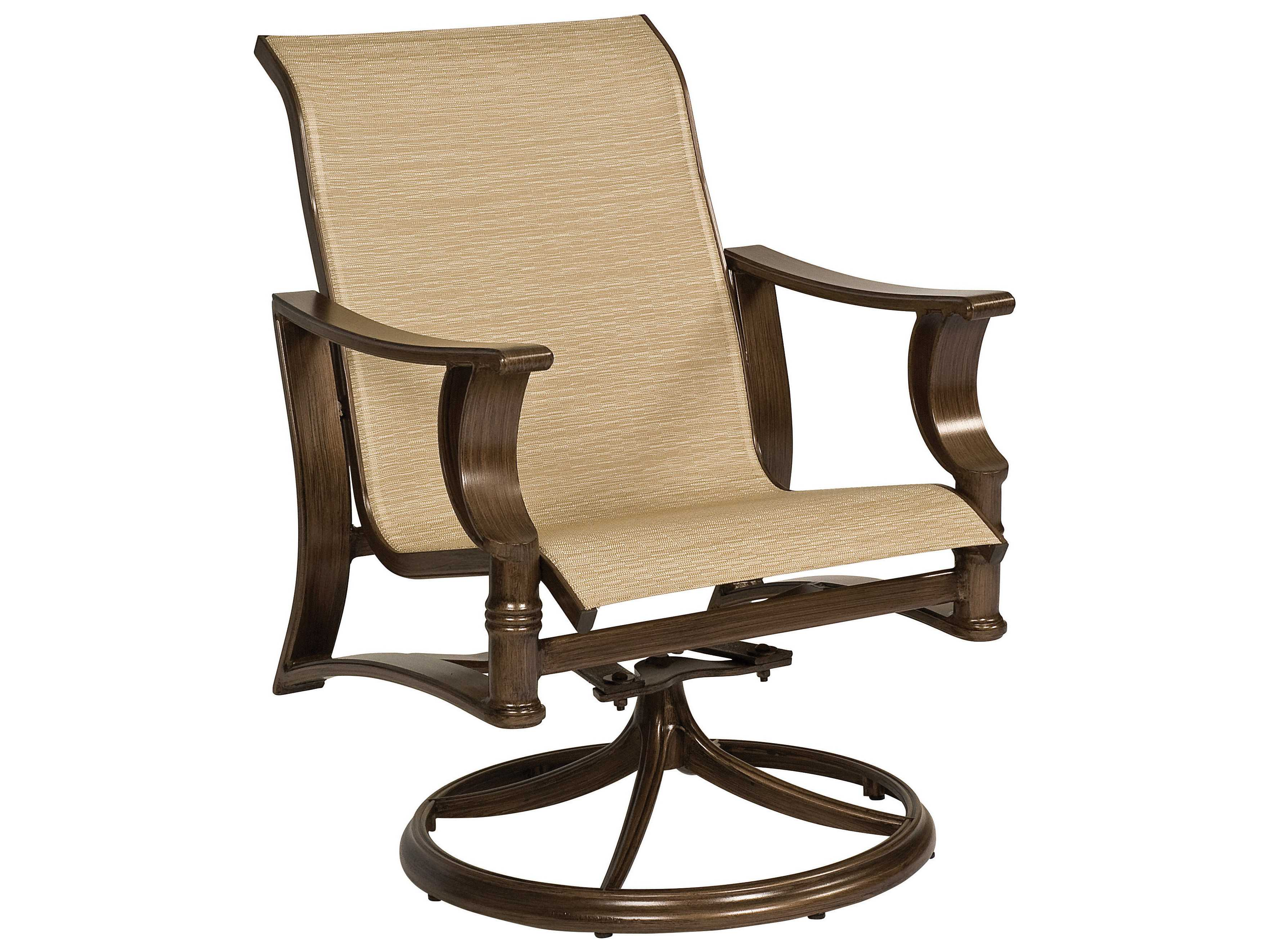 Sling Chairs Woodard Arkadia Sling Aluminum Swivel Rocker Lounge Chair