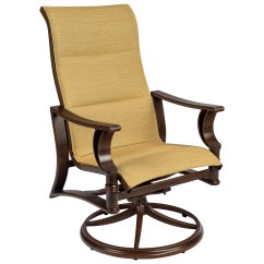 Swivel Chair Dining Leather Club Recliner Woodard Arkadia Padded Sling Aluminum High Back