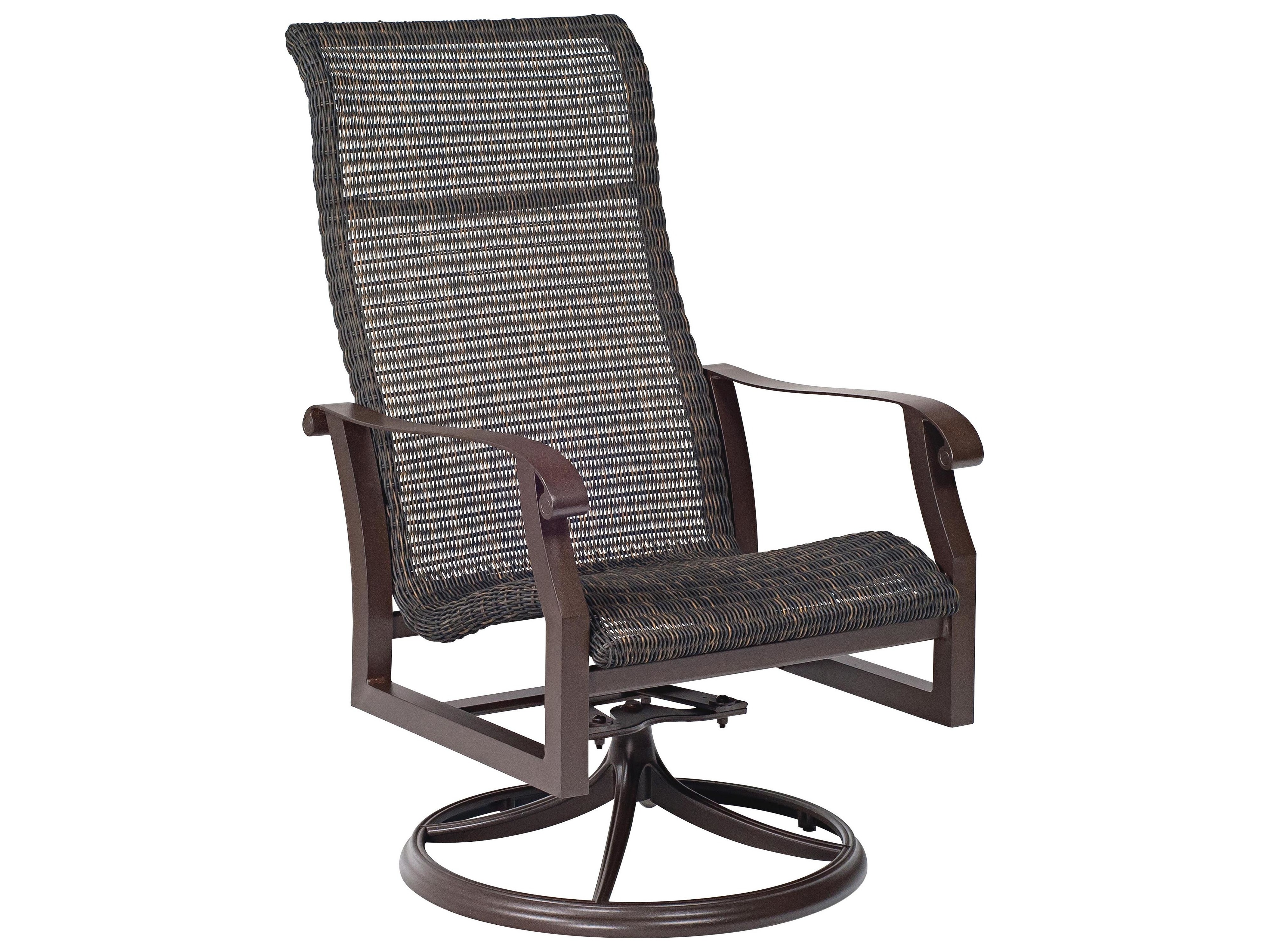 round patio chair zebra wood woodard cortland woven weave wicker high back swivel