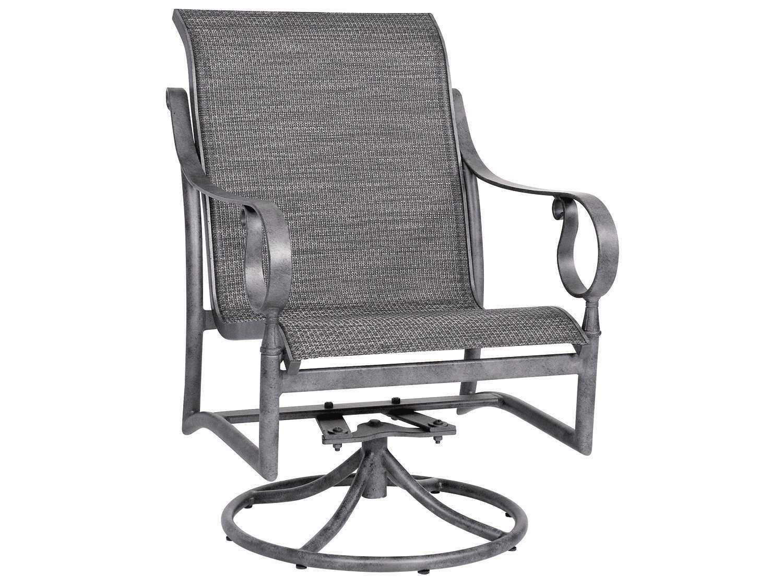 low back lawn chair arm caddy woodard ridgecrest sling aluminum swivel rocker