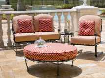 Woodard Terrace Cushion Wrought Iron Oval Ottoman 470086