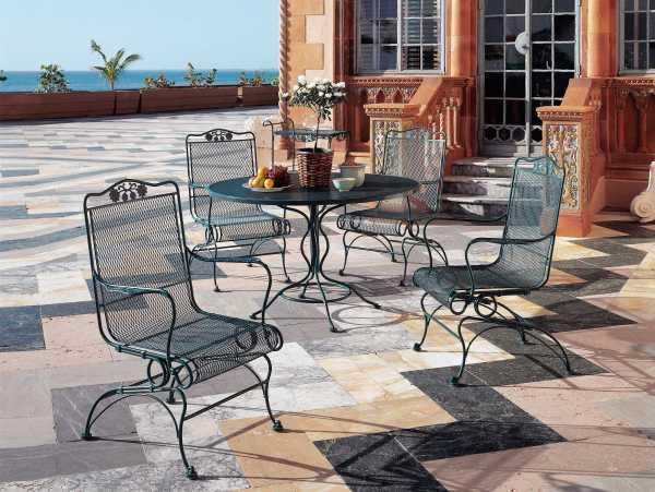 wrought iron patio furniture Woodard Briarwood Wrought Iron Dining Set | GBLDS