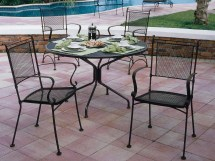 Woodard Bradford Mesh Wrought Iron Dining Set Gluds